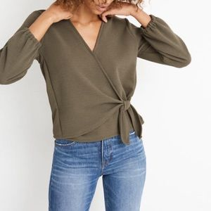 NEW Madewell Olive Tie Wrap Top 🌿